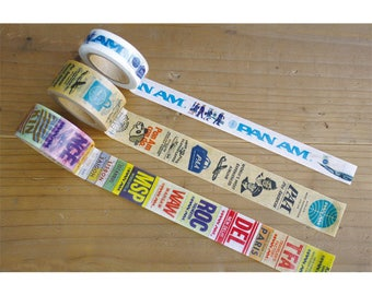 Traveler's Factory Pan Am Collection Masking Tapes Pan Am Logo,Collage and Baggage Tag Set Made in Japan Free shipping Limited Rare Midori