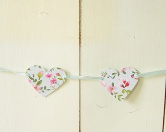 Floral hearts Garland of paper/cardboard. rose and light blue.