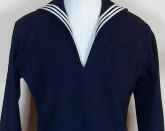Vintage Navy Sailor Shirt Top Wool 1960's Uniform US Military  Nautical Stripe