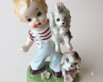 Boy with Poodles Figurine Vintage Big Eyed Boy with 2 Dogs Fine Bone China Figurine Red & White Striped Shirt Dungarees Vintage Home Decor