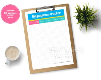 Bill payment tracker planner insert, printable. Bill monthly checklist. A4 Size, Portrait. Instant download.