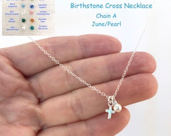 Cross Birthstone Necklace, Sterling Silver, Tiny Cross, Cross and Pearl, Swarovski Crystals, Birthday Gift, Baptism, Confirmation, Communion