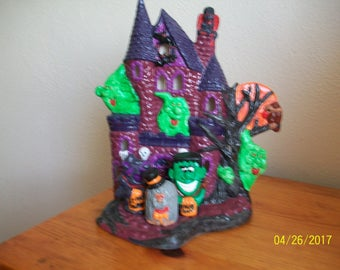 Halloween Lighted Haunted House  - Hand Painted