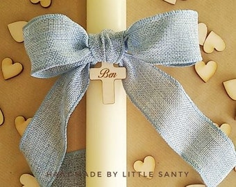 Baptism candle. Christening candle. Personalised. Round and cream candles. Different ribbons to choose. Vela baptizado.