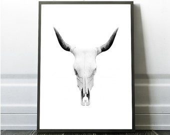 Skull Print, Printable art, Grey Skull Poster, Nature skull Print, Black and White Skull Art, Minimalist Grey Wall Art, Grey Art Photography