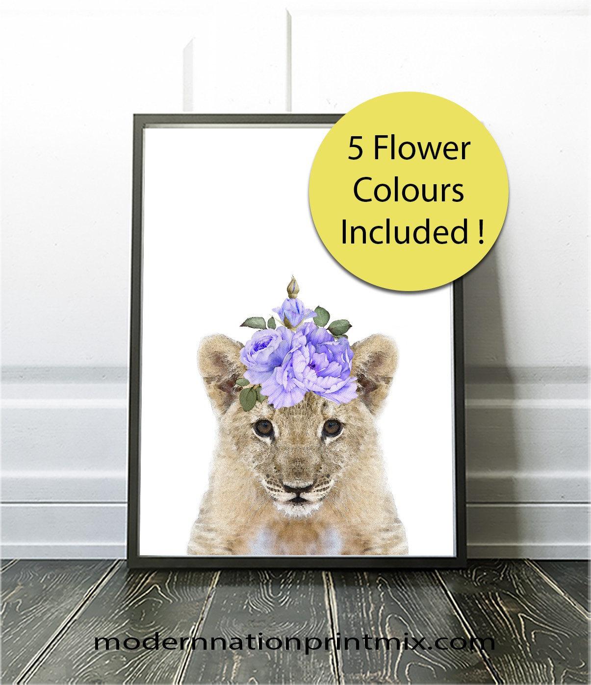 lion art cub wall decor digital watercolour art printable. Black Bedroom Furniture Sets. Home Design Ideas
