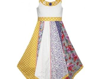 Girls Dress Kids Girl Patchwork Floral Butterfly Polka Dot Sleeveless Dresses Children 3-11 Years