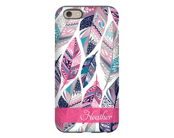 Feathers iPhone 7 case, bohemian iPhone 7 Plus case, personalized iPhone case, iPhone SE case, iPhone 6s case, iPhone 6s Plus case
