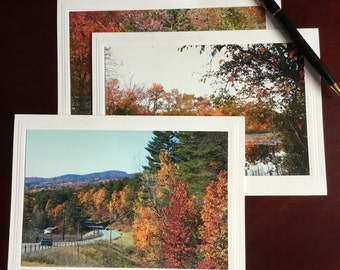 Fall Photo Note Card, All occasion Note Card, set of 3, 4x6 Photo mounted on 5x6 7/8 Card, Inspirational Note Cards, Greeting Cards.