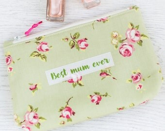 Personalised Rosebud cosmetic pouch - makeup bag - mother's day gift - grandmother gift - gift for nan - beauty bag - makeup bag
