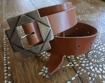 Handmade Vegetable Tanned Leather Belt with Vintage Metal Buckle, Tan Colour, Medium- Large Size
