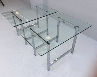 Pair of mid-century, chrome and glass, square end tables in the style of Milo Baughman