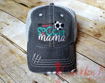 Soccer mama-soccer mom-soccer momma-womens ball cap-womens hat-sports mom-machine embroidered hat-custom hat