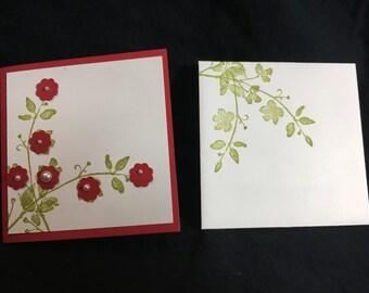 "Handmade Stamped Bloomin'  3x3"" mini card"