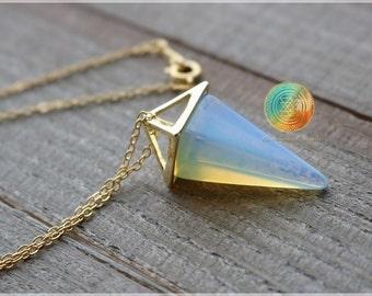 Opalite Pyramid,18K GOLD PLATED, Genuine Opalite necklace, Opalite Jewelry, Opalite Charm, Opalite pendant,Crystal necklace,Gemstone jewelry
