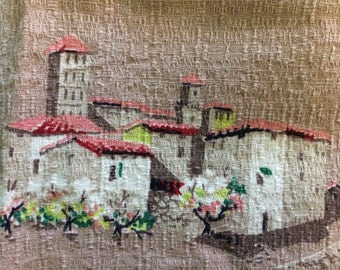 Vintage Nubby Barkcloth * 34 x 35 Inches * Taupe * Mexican Fiesta * Adobe Village