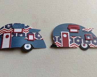 Patriotic Themed Teardrop Trailer Magnets - Set of Two