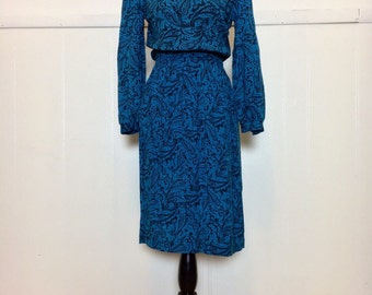 "80s ""Taurus II"" Blue Paisley Dress"