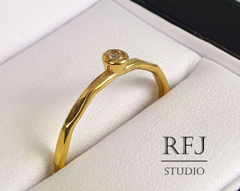 Faceted Citrine Gold Ring, Yellow CZ 2 mm 24K Yellow Gold Plated Ring, November Birthstone Gold Plated Stackable Ring, Gold November Ring