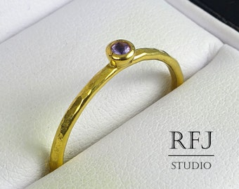Yellow Gold Natural Amethyst Hammered Ring, February Birthstone 2 mm Round Cut Purple Stone 24K Yellow Gold Plated Ring, Stackable Gold Ring