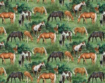 """Horse Fabric:Wild Wings Valley Crest Horse Scenic Horses and green meadows by Springs Creative 100% cotton Fabric by the yard 36""""x43"""" (SC28)"""