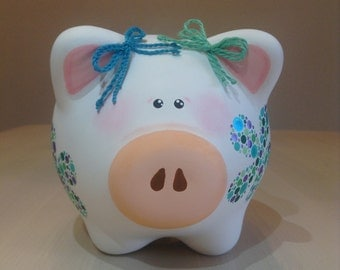 Hand-painted white-green-blue piggy bank