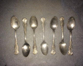 Vintage Silver Plated Spoons  - 7 US States Spoons by Wm. Rodgers Co.