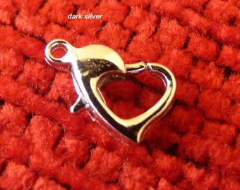Heart Lobster Clasps, Heart Clasps, Necklace Closures, Silver Plated and Dark Silver Lobster Clasps, Necklace Fastener