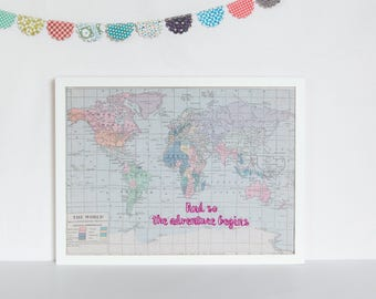 And so the adventure begins World Map, Notice board, fabric notice board, map pin board, magnetic notice board, travel gift, birthday gift