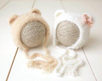 Little Bear Set / Twin Bears / Newborn Bear Hat