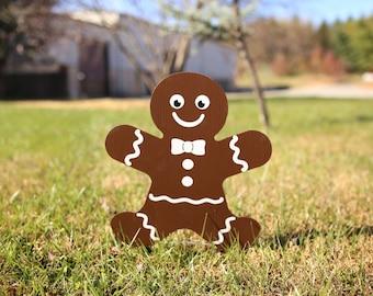 Gingerbread Man Lawn Decor | Yard Signs | Holiday Decorations | Holiday Sign