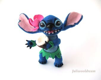Needle felted Stitch inspired Lilo and Stitch Collectible doll Handmade doll Felted doll Needle felting Hawaii Felting wool Unique gift