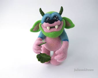Needle felted cute monster, Fantasy art, Collectible doll, Needle felted doll, Unique gift, Home decor, Felting wool, Needle felting Fantesy