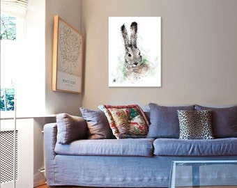 Hare painting // A3 print // hare art print // hare print // hare illustration // hare drawing // large hare print // peter rabbit nursery