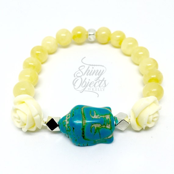 Yellow Jade, Rose and Buddha Bracelet