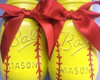 Softball mason jars!
