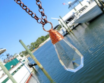 Copper Wire Wrapped Geometric Crystal Necklace // Vintage Crystal Necklace // Vintage Chandelier Crystal Necklace