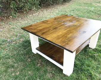 Rustic Coffee Table, Farmhouse Coffee Table, Farm Coffee Table, Square Coffee Table, Distressed Coffee Table, Rustic Wood Coffee Table