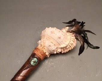 Wood Carving Maori conch shell instrument (putatara)