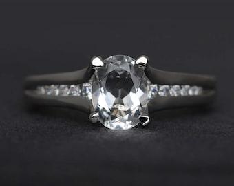 white topaz ring oval cut engagement ring topaz ring wedding ring sterling silver ring November birthstone ring gemstone ring