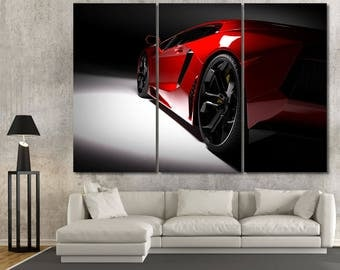 Large red and black sports car canvas print home art wall decor, gifts for him colorful racing sport drive home decor photography poster set