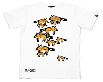 FOXES ON WHITE Adult's Illustrated T-shirt, by Badger & Kingdom
