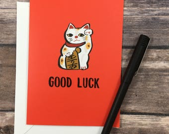 lucky cat card - good luck card - new job card - encouragement card - chinese new year card - courage card - moving card - good luck exams