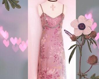 90s ANNA SUI Dress -  Anna Sui Silk Dress - Vintage 90s Dress, Anna Sui Dress - Vintage Floral Dress - Summer Dress - 90s Clothing Anna Sui
