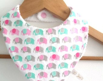 Bib Bandana print fabric girl gray, green and pink elephants