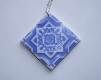 Polymer clay ceramic effect necklace