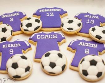 Sports Soccer or Baseball Theme Cookies  (one dozen)