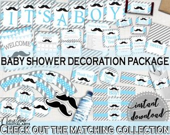 High Quality Decorations, Baby Shower Decorations, Mustache Baby Shower Decorations, Baby  Shower Mustache Decorations Blue