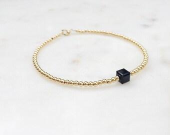 Gold Bead Bracelet / Black Cube Bracelet / Black and Gold Beaded Bracelet