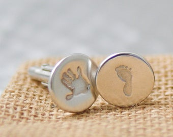 Fine Silver personalised hand and footprint cufflinks